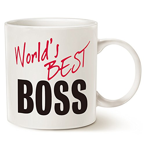 MAUAG Christmas Gifts World's Best BOSS Coffee Mug Funny Ceramic Mug for Boss Day White 14 Oz - Work and Office Holiday or Birthday Present For Worlds Best Male or Female Boss, Manager or Coworker (Mug Boss 1)