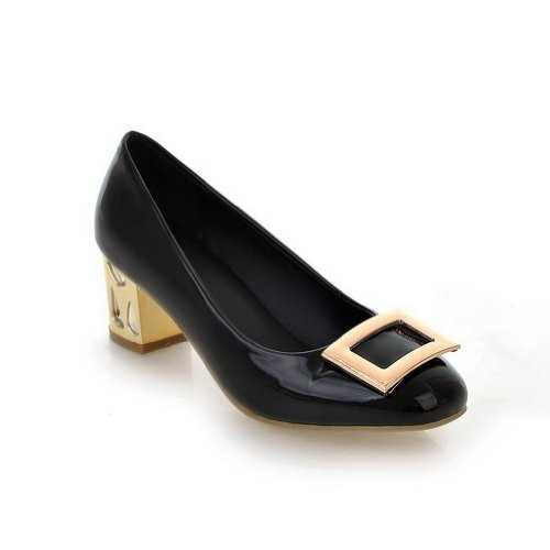 VogueZone009 Womans Closed Round Toe High Heel Patent Leather Solid Pumps Black