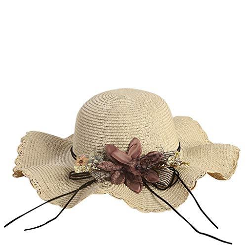 - ✨Loosebee Women's Beachwear Sun Hat Striped Straw Hat Floppy Big Brim Hat Beige