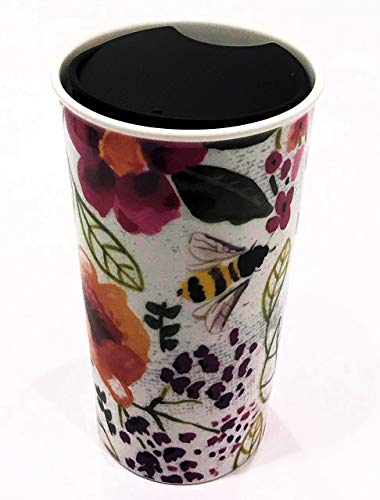 Insulated Travel Coffee Tumbler with Lid | Floral Design with Bumble Bees | Double Wall Insulated Cup | Hot on the Inside but Cool to the Touch