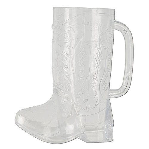 Club Pack of 12 Clear Country Western Cowboy Boot Party Mug Decorations 17oz