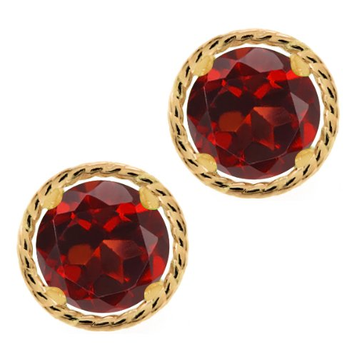2.00 Ct Round 6mm Red Garnet 14K Yellow Gold Stud Earrings