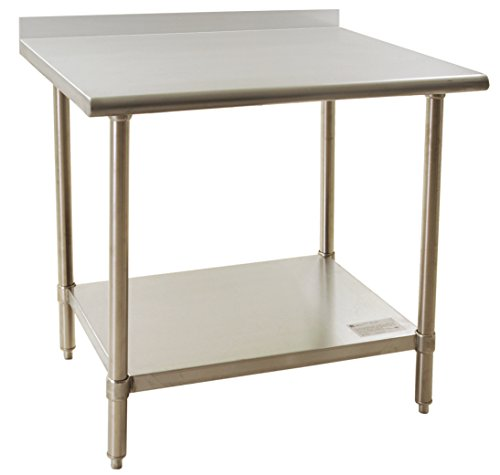 3048 Economy Work Table - BlendPort BPT-3048FL Economy Table, Upturn, Stainless Steel, Galvanized Legs/Shelf/Gussets, 30