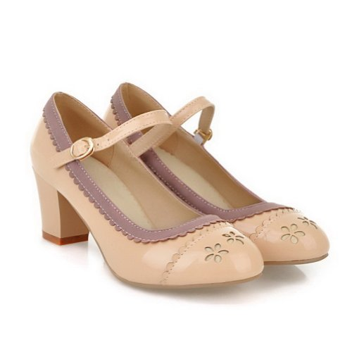 AmoonyFashion Womens Round-Toe Closed-Toe Kitten-Heels Pumps-Shoes With Rough Heels and Metal Snap Apricot jYeEoqb