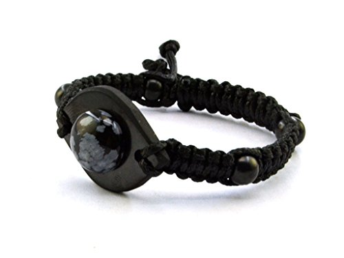 Keled Rocks Mens Bracelet Shungite Therapy Stone Natural Beads Black and Snowflake Obsidian Gem