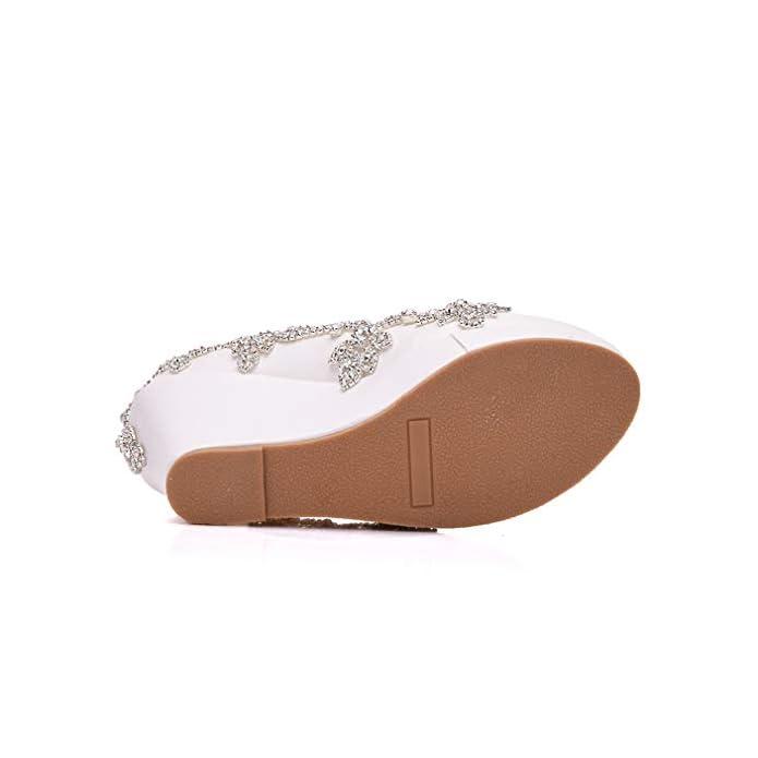 Yan Scarpe Cuneo Donna Pu Vestito Moda Strass Catena Di Nozze Tacchi Alti Caviglia Cinturino Bianco white 37