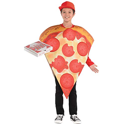 Kids Pizza Costume (AMSCAN Pizza Halloween Costume for Kids, Standard, with Included)
