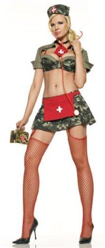 [Sexy Adult Halloween Costumes Army Nurse Costume Womens U.S. M/L] (Naughty Nurse Halloween)