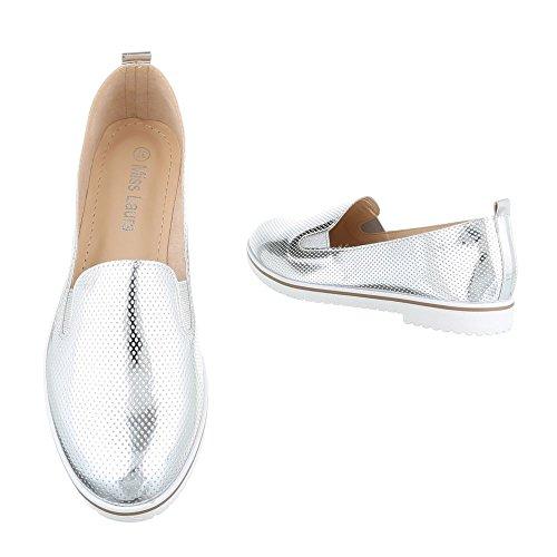 Damen Schuhe Halbschuhe Slipper Freizeitschuhe Pumps Schwarz Silber