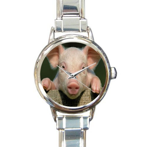 New Arrival!Personalzied Gifts Cute Piglet Round Italian Charm Watch