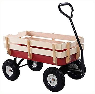 PROGLEAM > Wheelbarrow Cart Wagon, Sturdy Red Wood Panel Garden Cart Wagon