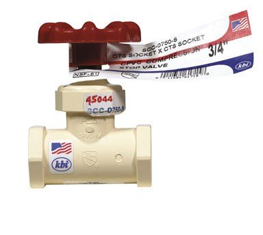 (King Brothers Inc. SCC-0750-S 3/4-Inch Compression PXL CPVC Stop Valve, Tan )