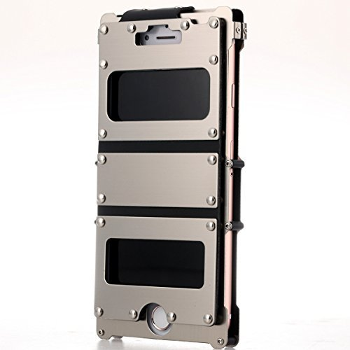 For Iphone 7 Flip Case,R-JUST Rivet Style Luxury Stainless Steel Metal Protecive Cover Case sleeve with View Windows for Apple 7 4.7 Inch (Silver) - Rivet Style