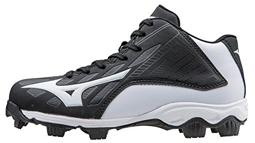Mizuno 9 Spike ADV Yth FRHSE8 MD BK-WH Youth Molded Cleat (Little Kid/Big Kid), Black/White, 4 M US Big Kid