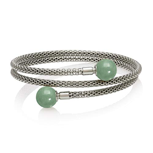 Sterling Silver Natural Jade Mesh Bangle Bracelet