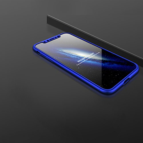 Funda iPhone X, Funda iPhone 10, Sunroyal Ultra Slim ultra delgada PU Leather Flip Case con ranuras folio tarjeta y Clear Soft Gel SuaveTPU Cubierta de silicona brillo brillante Protección de 360 ° Co Azul