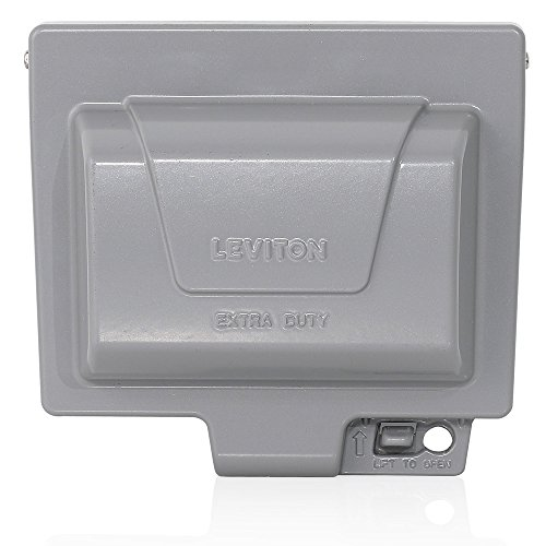 Leviton IUM1H-GY Extra Duty Outlet Hood 1-Gang GFCI or Duplex Receptacle or Single Receptacle Horizontal Mount by Leviton