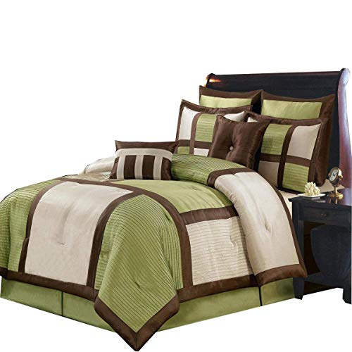 Morgan Sage , Brown, and Cream Full size Luxury 8 piece comforter set includes Comforter, bed skirt, pillow shams, decorative pillows