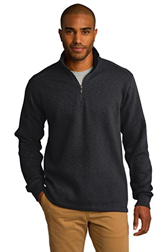 Port Authority Men's Slub Fleece 1/4 Zip Pullover L Black