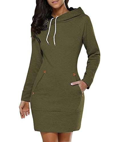 BIUBIU BUIBIU Women Hooded Sweatshirt Dress, Ladies Long Sleeve Sweater Dresses