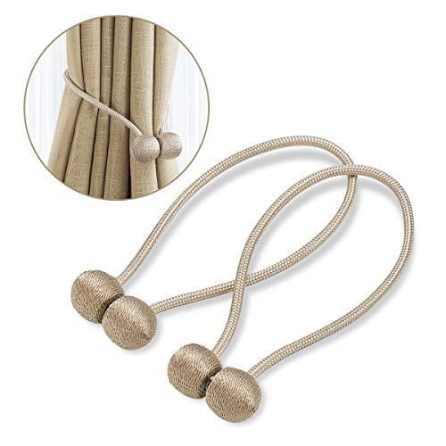 BCELIFE Curtain Tiebacks Magnetic, Handmade Drape Tie Backs Drapery Rope Holdbacks/Holder for Window Sheer and Blackout Panels Home and Office Decoration,Set of 2, Beige