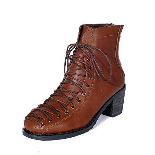 AgooLar Womens Low-Top Zipper Soft Material Kitten-Heels Round Closed Toe Boots Brown 9c9Z5Z8iU