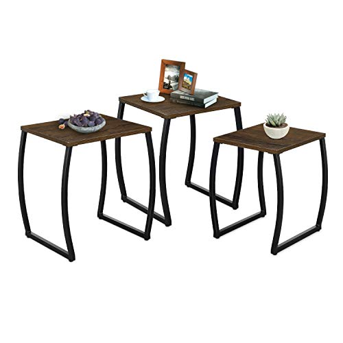 RooLee Nesting Tables, Vintage Side End Tables Living Room, Coffee Snack Table Set of 3