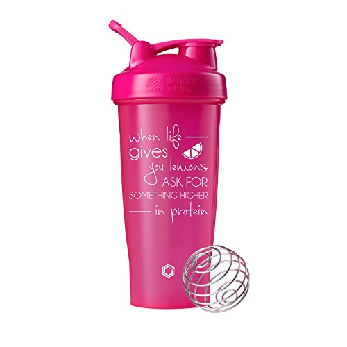 When Life Gives You Lemons on BlenderBottle Brand Classic Shaker Cup, 28oz Capacity, Includes BlenderBall Whisk (Pink - 28oz)
