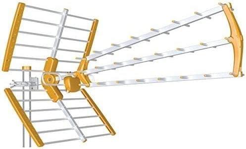 Tecatel 470-698MHz. Naranja UHF G=18 dB LTE 700 CH21 - CH48 Antena BKM Triple Plegable