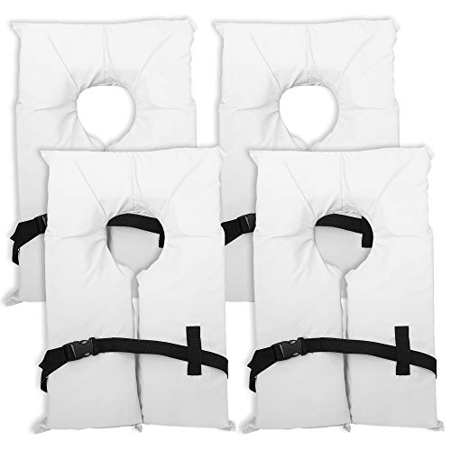 Hardcore Water Sports 4 Pack Type II White Life Jacket Vest – Adult Universal Boating PFD