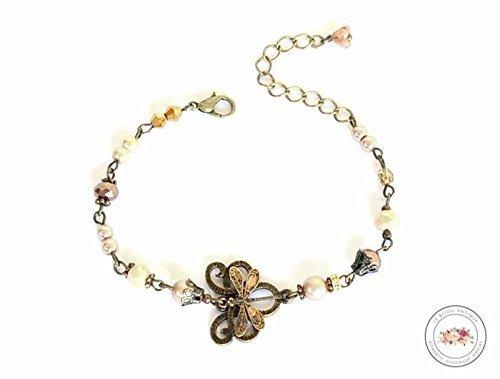 Dragonfly bracelet with beige crystals in antique bronze adjustable for prom - Bracelet Dragonfly Crystal
