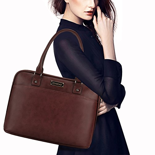 Laptop Bag for Women,15.6 Inch Laptop Tote Bag for Bussiness Work,Most Convenient Full Open Zipper Design[L0009/Coffee] by EDODAY (Image #7)