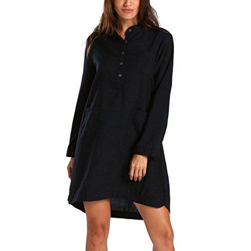 Women's Dress, 2018 New Women Retro Long Sleeve Casual Loose Tops Button Blouse Mini Shirt Dresses by E-Scenery (Black, XX-Large)