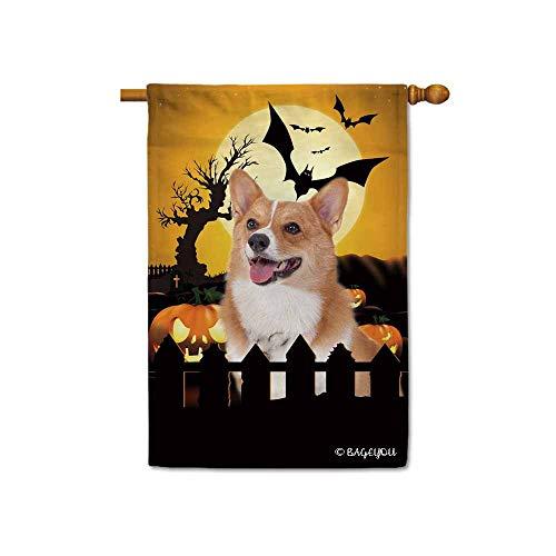 Corgi Happy Halloween (BAGEYOU Happy Halloween Jack O Lantern with My Love Dog Corgi Decorative House Flag for Outside 28x40 Inch Printed Double)