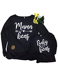 WenaZao Mama and Baby Letters Print Long Sleeve Black T Shirt Mother and Daughter Matching Shirts