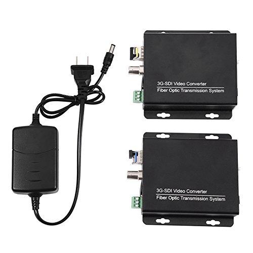 SDI Transmitter Receiver, 3G-SDI LC Fiber Optical Converter Video Audio Transmitter Receiver 1080P HD Display (US Plug)