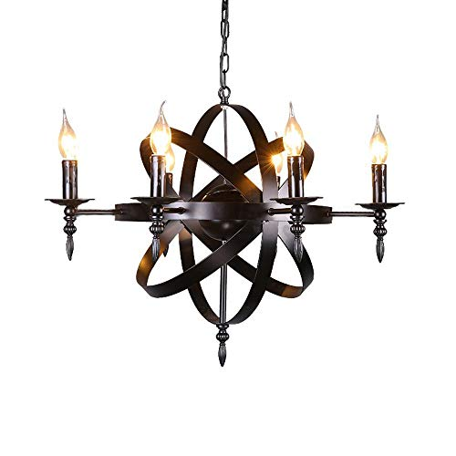 ZLHW Castle Style Medieval Candle Chandelier Ceiling Pendant Light Black Wrought Iron Massive Size for a Living Room Hallway or Country House Chandelier Diameter 65cm 6 lamp Heads