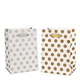 Gift Bags 5.25x3.75x8'' Paper Shopping Bags 12 Gift Boutique Small Metallic Gold Silver Gift Bags Polka Dot Gift Bags Perfect for Weddings, Birthday, Graduation, Gift Wrap Bags