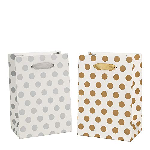 Gift Bags 5.25x3.75x8'' Paper Shopping Bags 12 Gift Boutique Small Metallic Gold Silver Gift Bags Polka Dot Gift Bags Perfect for Weddings, Birthday, Graduation, Gift Wrap Bags by BagDream (Image #7)