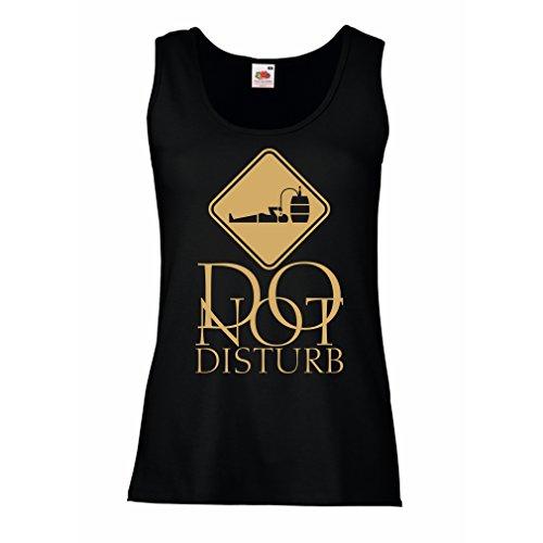 Camisetas sin Mangas para Mujer No molestar - Sólo estoy aquí para tomar una copa Negro Oro