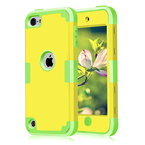 iPod Case, iPod 6 Cases , iPod 5 Case , iPod Touch Cases, Scratch Resistant Case 3 in 1 iPod Case, Yellow+Green (Touch Yellow Ipod)