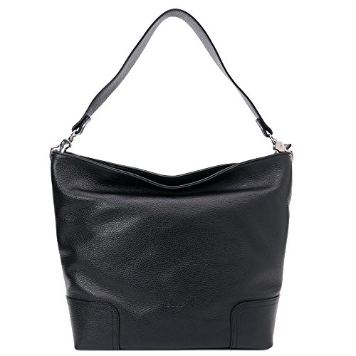 Sabrina - Bolso de mujer en cuero real - 100% Made in Italy Firenze - Dimensioni:30-40x30x12 cm (LxHxL) - EdgeModaStyle Negro