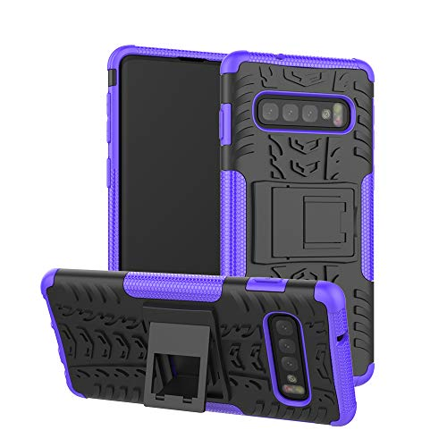 Price comparison product image Berry Accessory Galaxy S10 Case, Samsung S10 Heavy Duty Protective Cover Dual Layer Hybrid Shockproof Protective Case with Kickstand Hard Phone Case Cover for Samsung Galaxy S10 Purple
