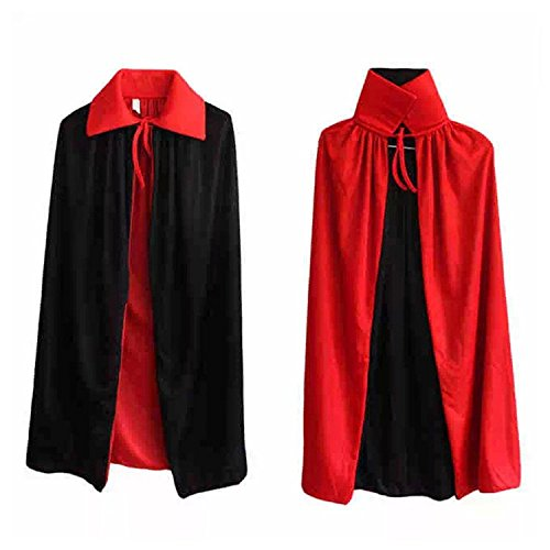 [Vampire Cape/ Witch Cloak Reversible Red/ Black (35 Inch) With Vampire Teeth] (Vampire Dress For Kids)