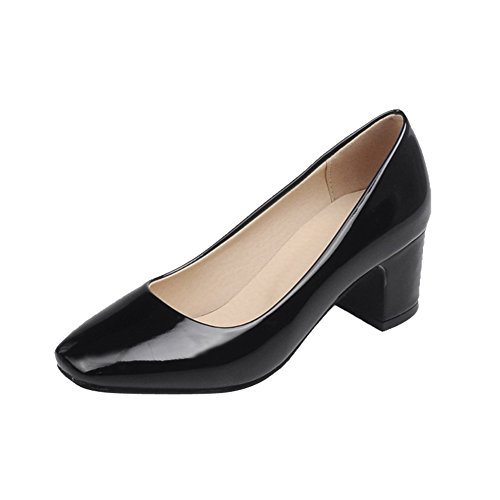 MissSaSa Damen Chunky heel Low-cut Lackleder Pumps mit Blockabsatz Schwarz