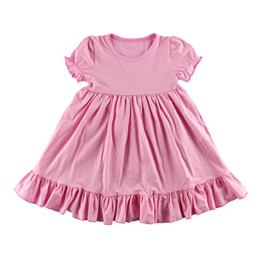 Wennikids Little Baby Girls' Short Sleeve Cotton Princess Dress XX-Large Pink