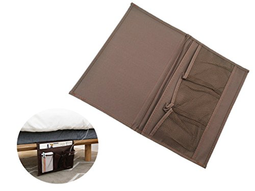 Kinteshun Bedside Caddy Pocket Oxford Cloth Table Cabinet Storage Organizer Handy Bag Magazine Phone Remotes - All Within Arms Reach(Coffee Color)