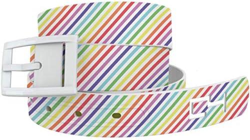 C4 Design Belt - Pastel Rainbow Pride BeltWhite Buckle - Fashion Waist Belt for Women and Men