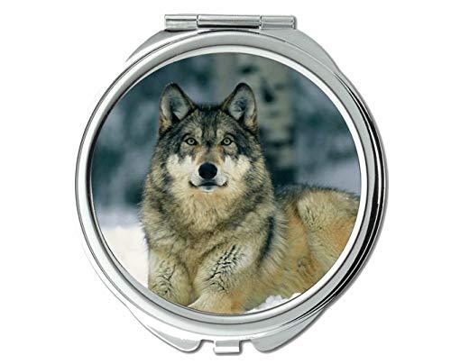 Yanteng Flying Pig Men Mirror,Round Mirror,Snow Winter Animal Wolf,Pocket Mirror,1 X 2X -