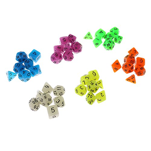 Fenteer 42PCS Polyhedral Dice 16mm Glow in the dark for Dungeons and Dragons DDN RPG MTG Party Board Games with Bag by Fenteer
